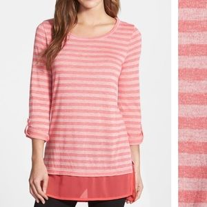 Caslon Layer Look Stripe Tunic with Rolled Sleeves